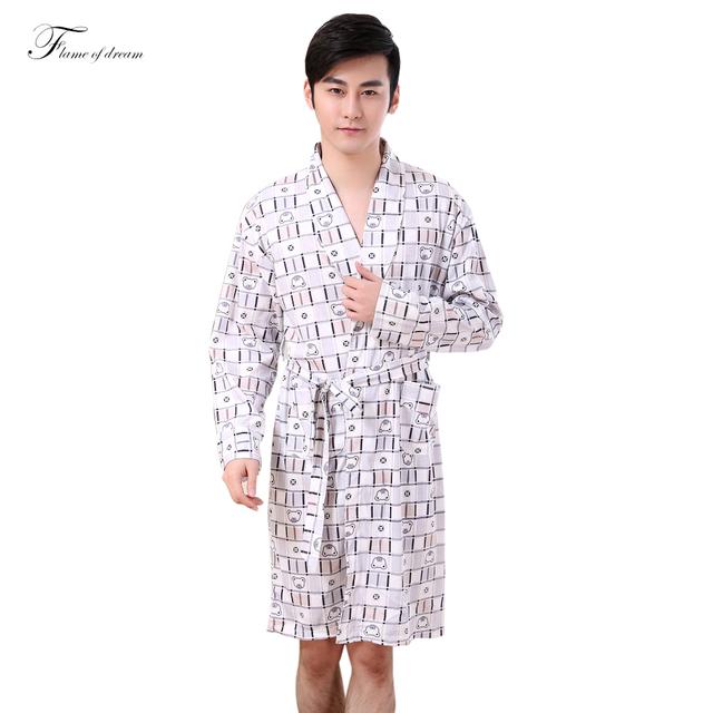 Mens roupão de Banho Homens Robe Vestido Kimono Homme Homem Quimono Roupão de Banho Para Homens 343