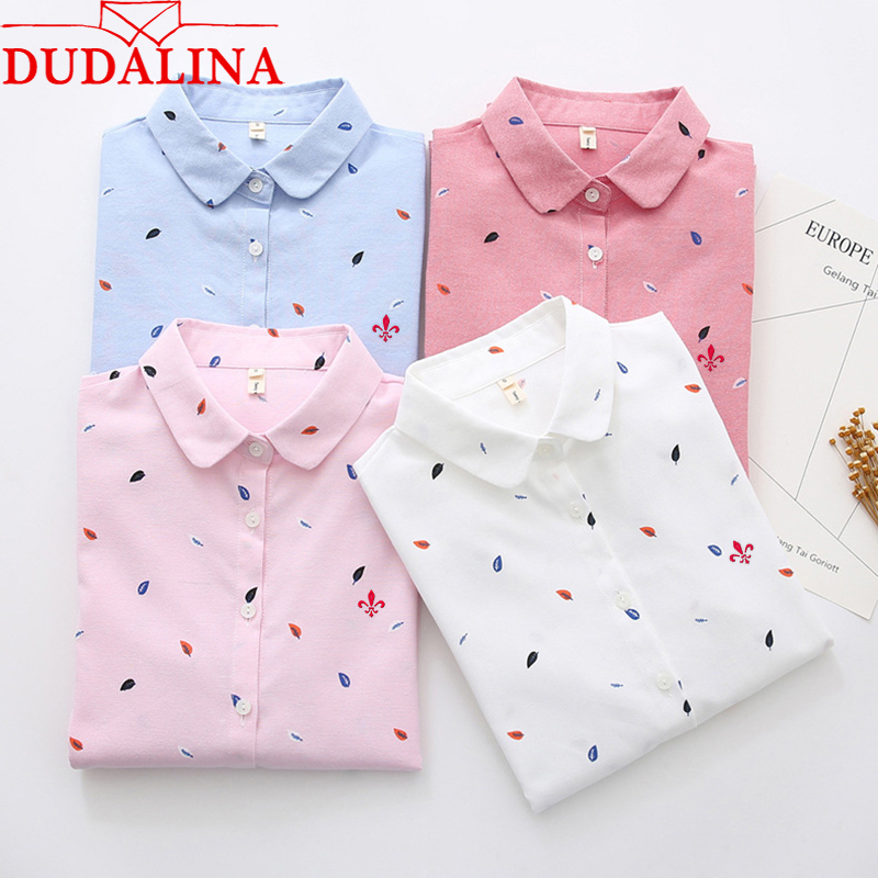 DUDALINA 2019 Fashion Floral Printed Lady Shirt 2019 New Fashion 100% Cotton Lady Shirts Women Long Sleeve Elegant lady shirt