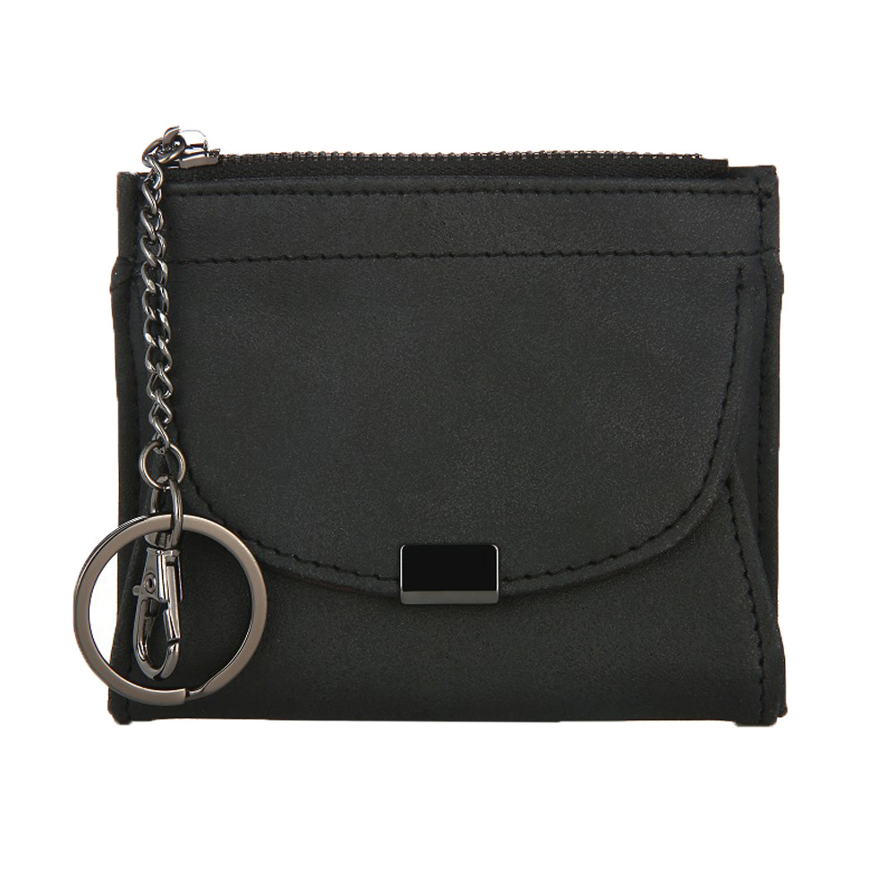 Women Leather Grind Zipper Purse Short Card Holder Solid Mini Wallet Pouch Easy Open Kids Girls monederos para mujer monedas