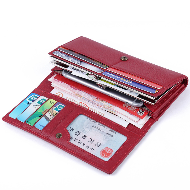 Genuine Leather Women's Wallets High Capacity Long Wallet Female Design Pocket Purse Women Coin Purses Lady Clutch Card Holder