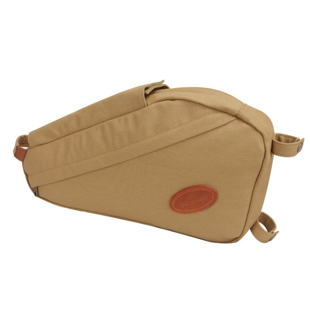 Tourbon Vintage sac de vélo cadre de vélo Tube Triangle sacs à bandoulière kaki toile cirée étanche banlieue accessoires de cyclisme - 2