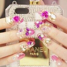 2018 24pcs/set 3D False Nails Crystal Rhinestone Glitter Tips Bridal Nail Women Wedding red rose Z397
