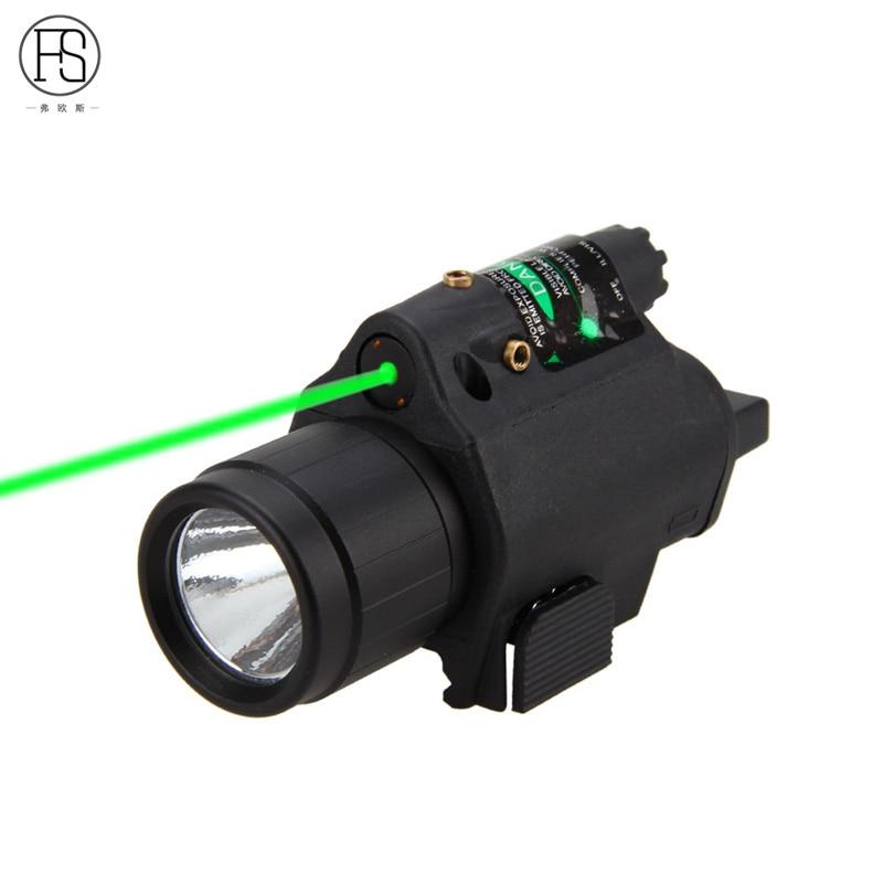 Camping 2 in 1 Tactical Insight Green Laser CREE Q5 LED 300 Lumen M6 Powerful LED Flashlight Lantern For Pistol Gun Bike Bicycle
