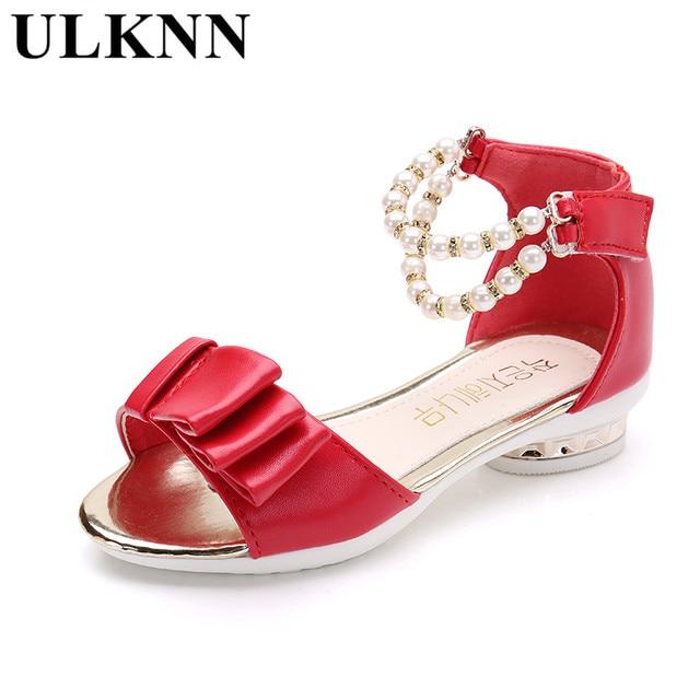 ULKNN Summer Kids Sandals Girls Bowtie Children shoes girls Pearl Beading  Girls party shoes Low Heels Sandals Open toe Sandalia d88aa40ca022