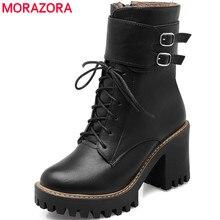 MORAZORAแฟชั่นรองเท้าผู้หญิง 2020 ฤดูใบไม้ร่วงฤดูหนาวหัวเข็มขัดรองเท้าผู้หญิงรองเท้าส้นสูงรอบToe Platform Lace Upข้อเท้ารองเท้าสำหรับผู้หญิง