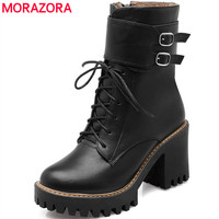 Fashion Boots 2017 Autumn Winter Buckle Ladies Shoes Thick High Heels Round Toe Platform Lace Up