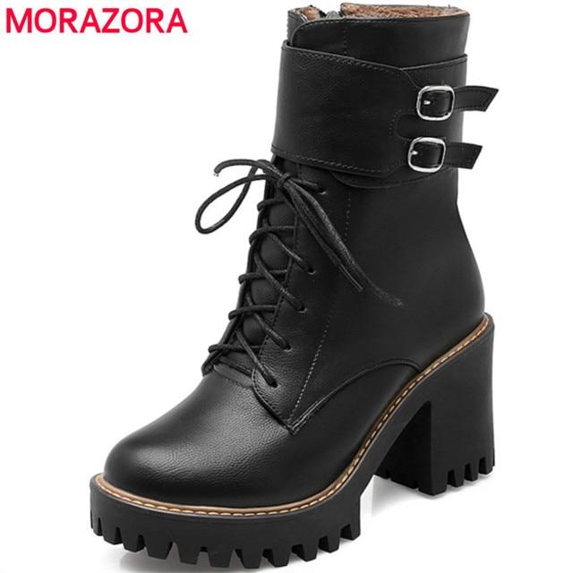 MORAZORA Mode bottes femmes 2018 Automne hiver boucle dames chaussures  haute talons bout rond plate,