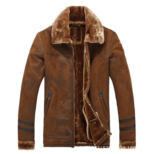 Uwback Suede Leather Jacket With Fur Men Pilot Leather Jackets Men Winter Warm Thick Pilots Coats Mens Loose Windbreaker CAA313