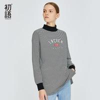 Toyouth Striped Turtleneck T Shirts For Women Plus Size T shirts Harajuku Long Sleeve Tees Fashion Korean T shirt Letter Tops