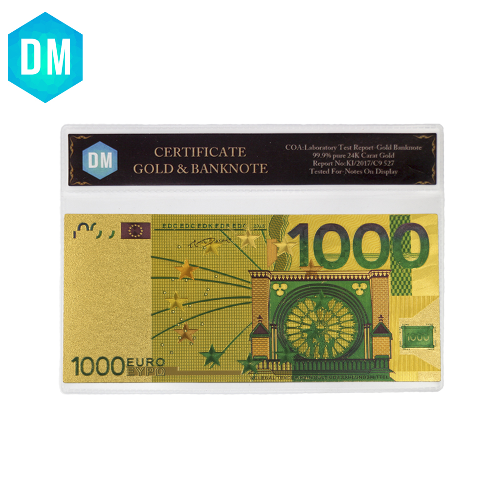 Hot Sale 24k Gold Foil Plated <font><b>1000</b></font> <font><b>Euro</b></font> Bank Notes In Colors, Gold <font><b>Banknotes</b></font> Paper Money Wedding Return Gift image