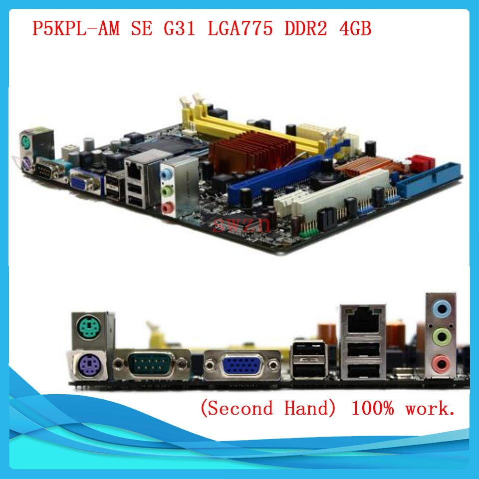 original Used Desktop motherboard For ASUS P5KPL-AM SE G31 Support LGA775 Maximum DDR2 4GB SATA2 u ATX Main Board asus g31m s support ddr2 775 pin integrated small board g31m g31 motherboard