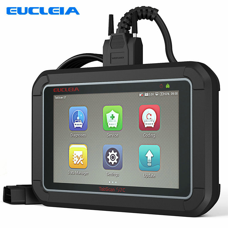 EUCLEIA S7C Automotive scanner Universal Car Smart Diagnostic Tool OBD Code reader For ABS+EPB+CVT+TMPS Reset +Oil Service Reset 2pc lot free shipping vgate vs450 for vag obdii obd 2 code reader car diagnostic tool vs 450 reset airbag abs can scanner