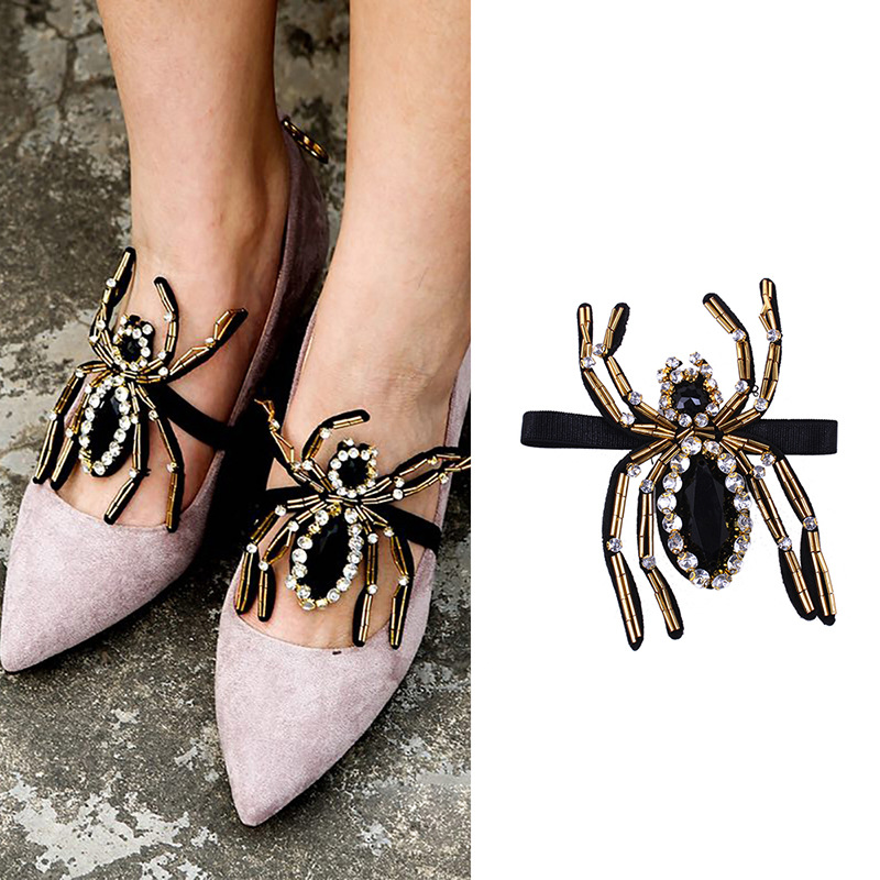 2018 New 2 Pcs Fashion Handmade Crystal Spider Shoes Flower Shoe Buckle Snowshoe Women Accessories Findings Components Jewelry
