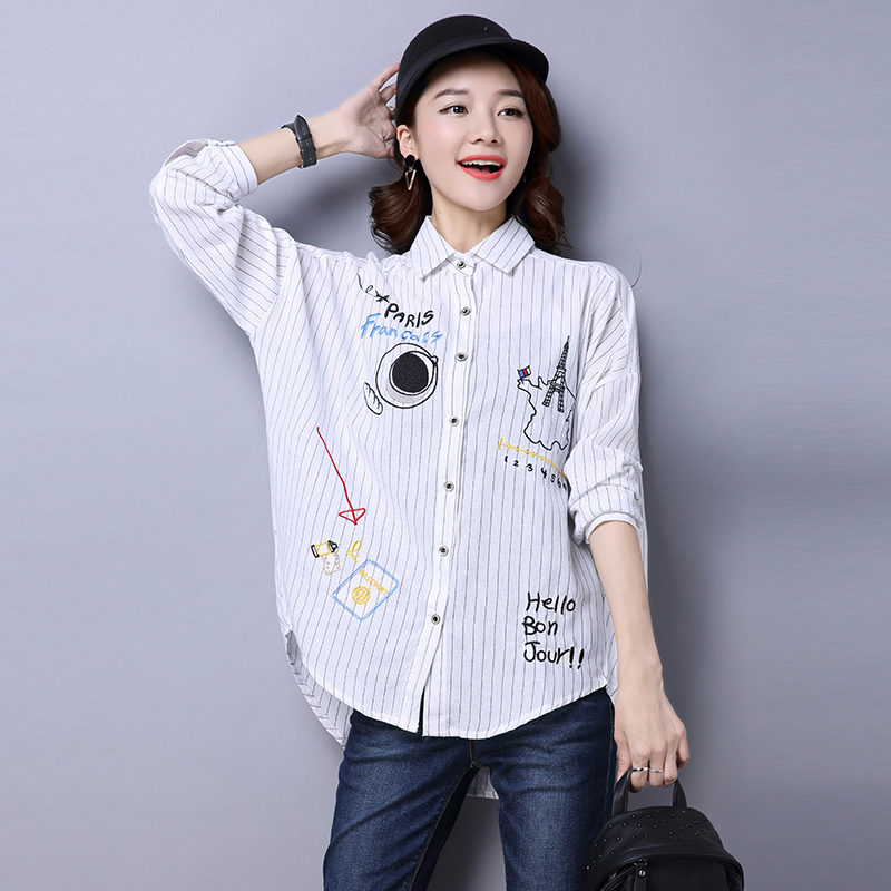 Embroidery womens batwing blouses 2018 spring ladies cotton linen stripes tops long sleeve shirt blouse blusas y camisas mujer
