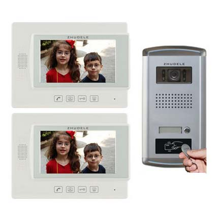 ZHUDELE Top Home Security Intercom System Doorphone for 2 Rooms 7Video Door Phone FRID Panel Camera w/t Waterproof Cover 1V2