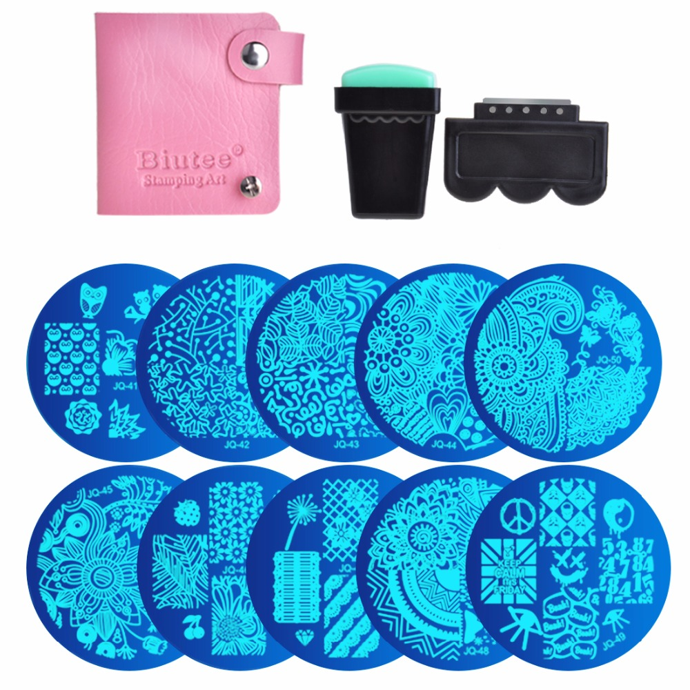 10 Nail Plates +1 Stamper + 1 Scraper + Storage Bag Nail Art Image Stamp Stamping Plates Manicure Template Nail Art Tools promotion 50sets nail art polish stamping stamper scraper set manicure tools green red white 3 colors options