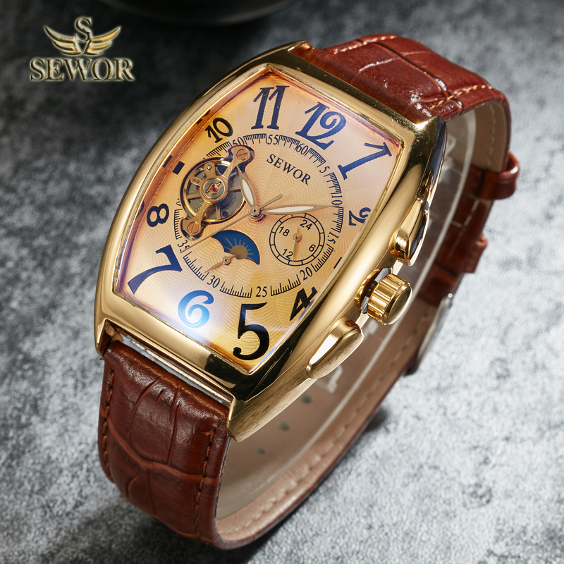 SEWOR Top Luxury Brand Fashion Barrel Type Leather Watch Band Mens Automatic Mechanical Watch Sport Watches Free Shipping