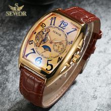 SEWOR Top Luxury Brand Fashion Barrel Type Leather Watch band Mens Auto