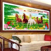 200*86 Новый полный алмазов 5D DIY алмазной живописи 8 лошадь Вышивка вышивки крестом горный хрусталь мозаика живопись декор подарок 61212