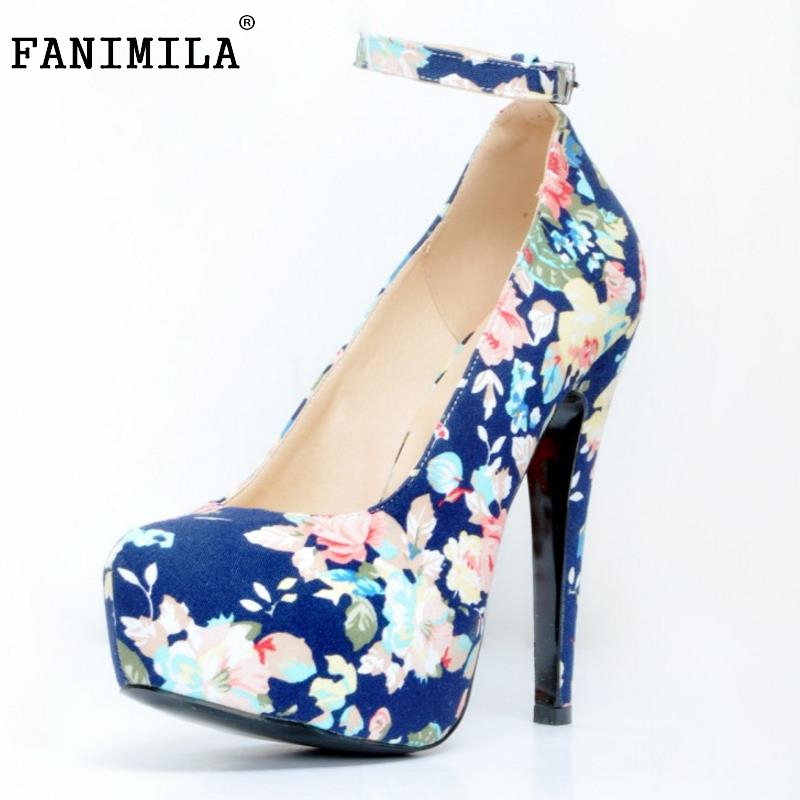 New Fashion Women Round Toe Platform Shoes Woman Brand Floral High Heel Pumps Ladies Ankle Wrap Wedding Shoes Size 34-47 new 2017 spring summer women shoes pointed toe high quality brand fashion womens flats ladies plus size 41 sweet flock t179