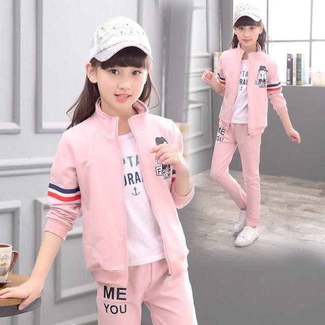 a967d18dc7715 2 pièces filles vêtements ensemble enfants vêtements filles Sport costume  Top veste et pantalon ensembles école