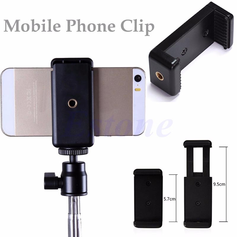 NoEnName_Null Quality Mini Mobile Phone Camera Tripod Stand Clip Bracket Holder Mount Adapter for HTC iPhone 6 Handlebar Clip universal cell phone holder mount bracket adapter clip for camera tripod telescope adapter model c