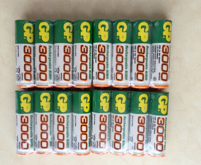 8pcs/lot original GP aa rechargeable battery 3000/ gp 3000 / / rechargeable battery gp batteries 1.2V Ni-MH + Free shipping