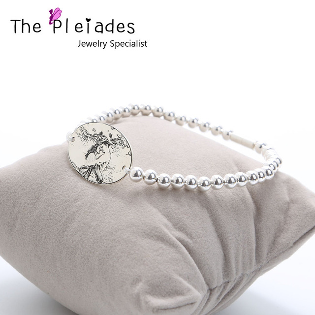 925 Sterling Silver Photo Engrave Bracelet Personalized Oval Charm Beaded Chain Elastic Custom Picture Memory