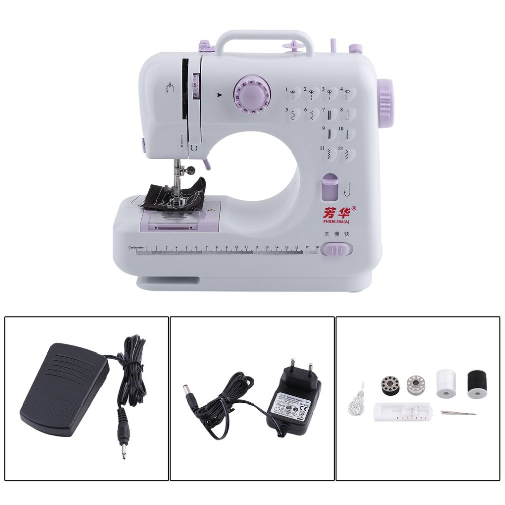 Electric Desktop Portable Double Thread Double Speed 12 Pre-Set Stitches Mini Household Sewing Machine 505A Presser Foot 15pcs multifunction sewing machine presser feet foot set brother singer janome
