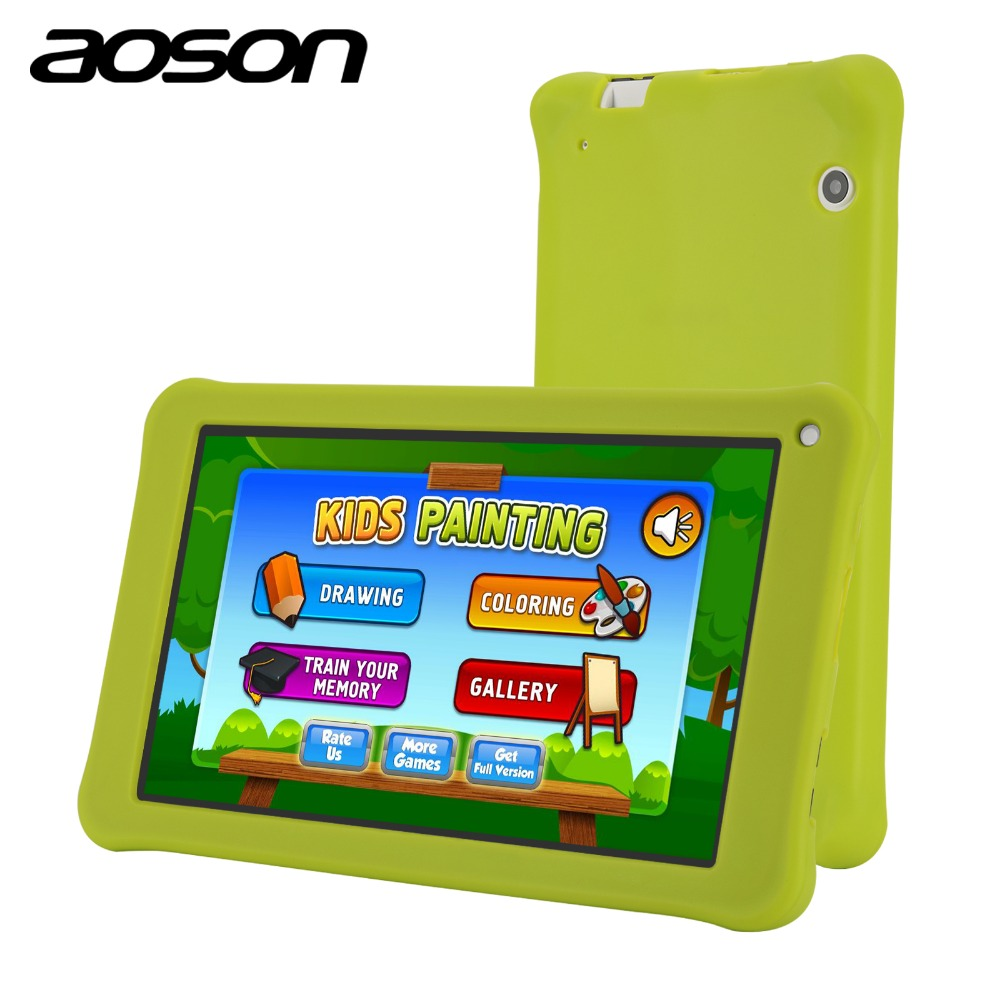 Aoson 7 Inch Kids Tablet PC 1GB 16GB Quad Core Android 6.0 Tablet 1024*600 IPS HD Tab Pre-install Kids Software Touch Stylus Pen car charger for tablet pc cube u10gt u10gt2 aoson m19 more black dc 9v
