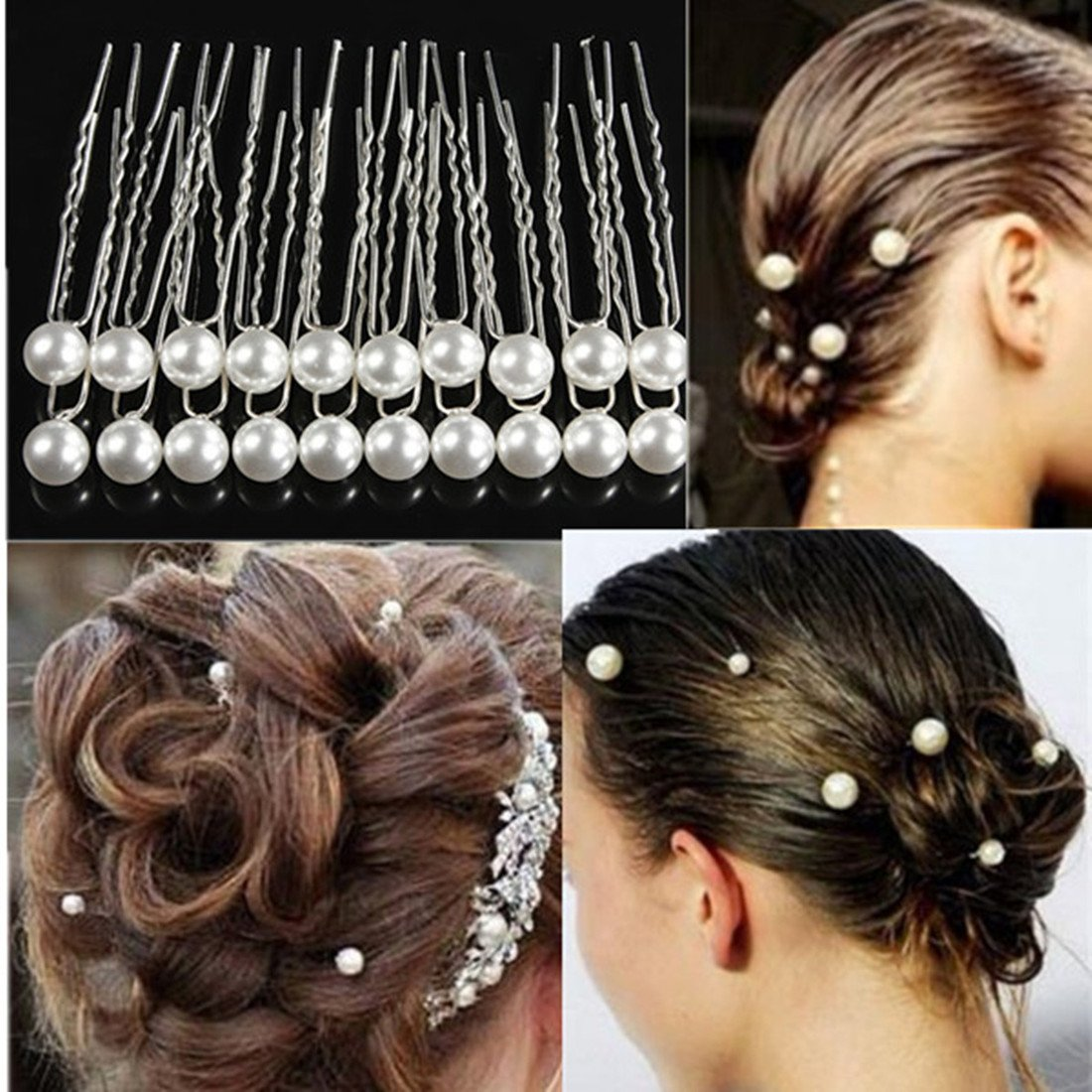 5 Sets of 20PCS Ladies Wedding Bridal Prom White Pearl Hairpins Alloy Hair Stick Pins Clips Grips