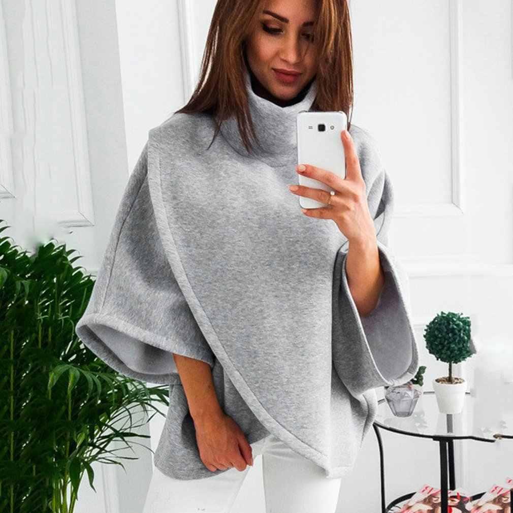 2019 sonbahar kış asimetrik kadın Hoodies artı boyutu kadın tişörtü parlama kollu eşofman sıcak Harajuku kazaklar