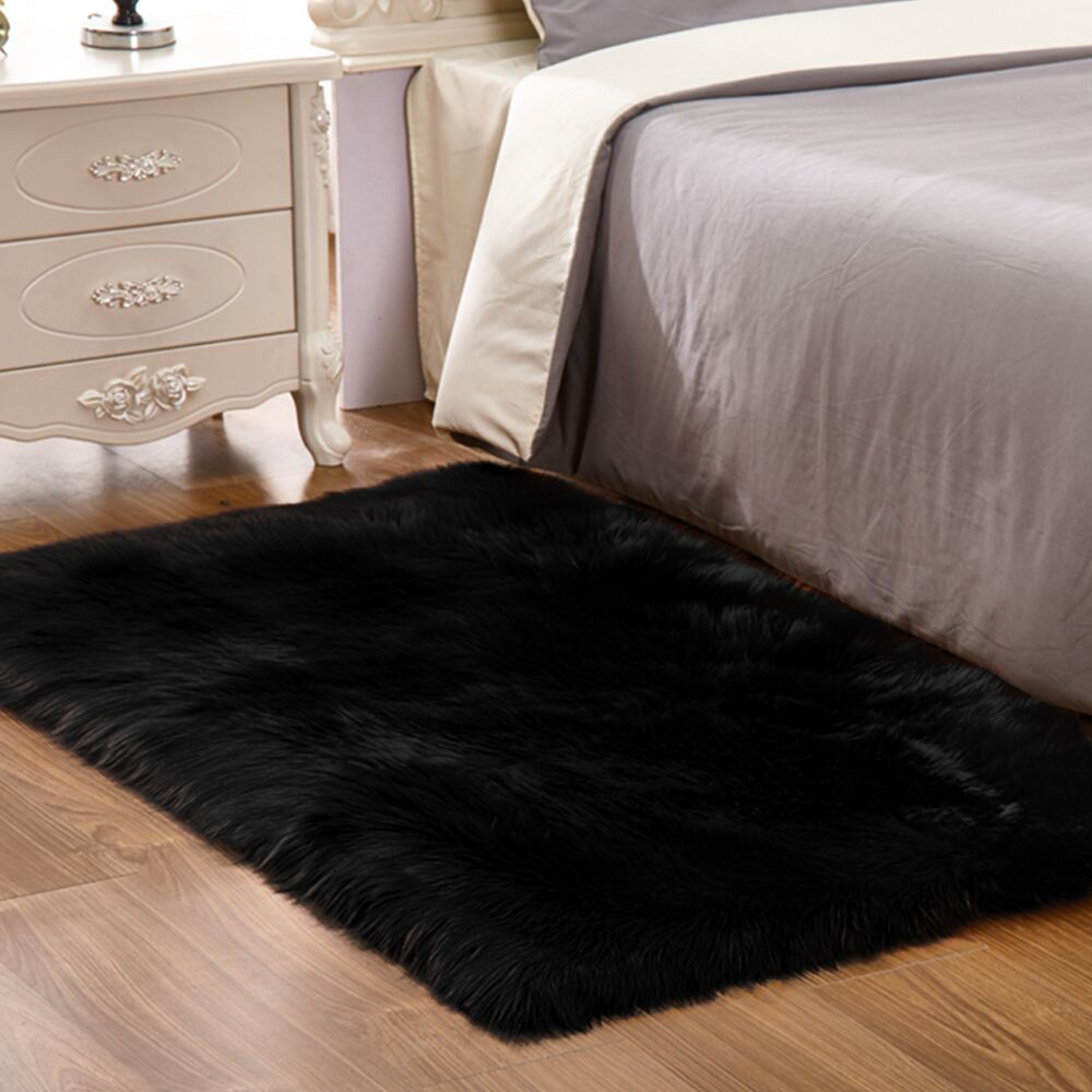 Yazi Luxury Black Rectangle Sheepskin Hairy Carpet Faux