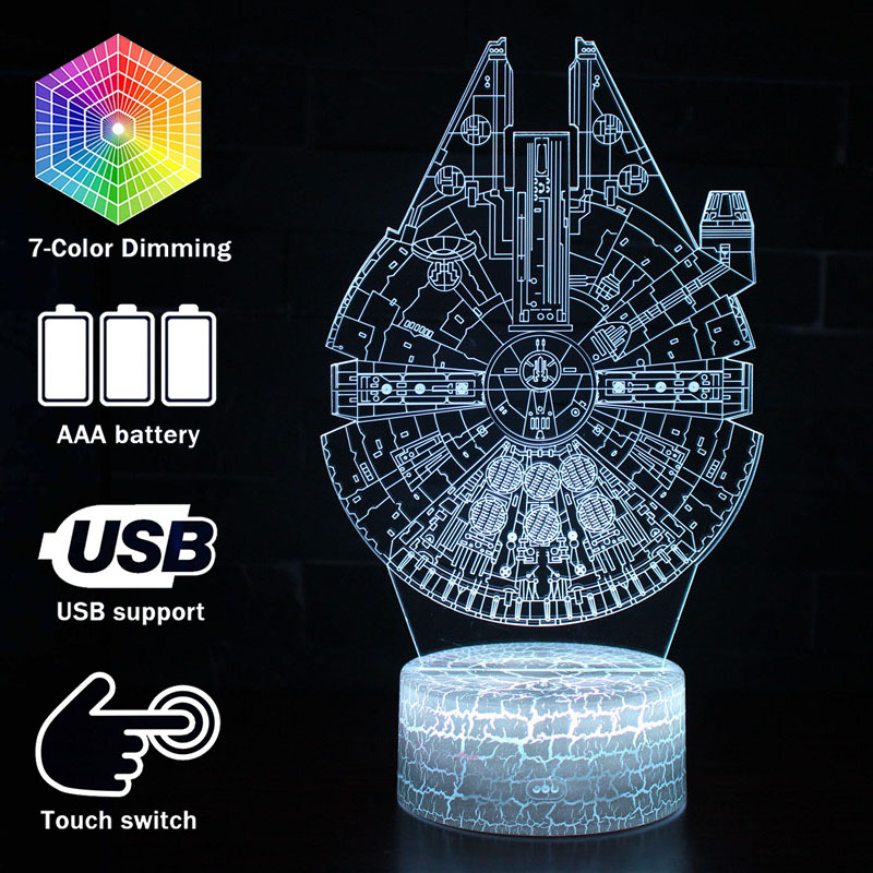 3D Illusion LED Night Lights Darth Vader Master Yoda Millennium Falcon Model Touching Lamp Star Series Wars Movie Night Lights