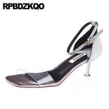 6426237e1c Clear Strap Heels Glitter Sequin Wedding Paillette Stiletto Sandals Women  Shoes Ankle 2018 Transparent Silver Pvc