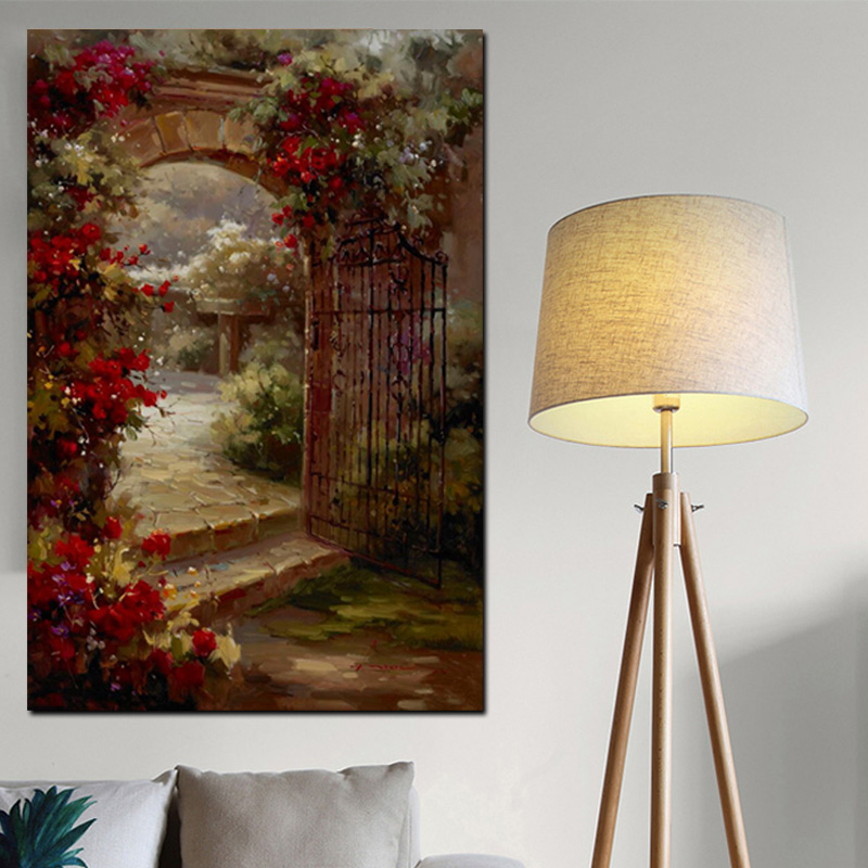 Abstract Pastoral House Flowers Door Landscape Oil Painting HD Print on Canvas Garden Poster Wall Art Picture for Livinng Room (2)