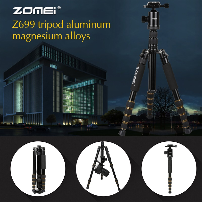 ZOMEI Z699 Travel Camera Tripod Magnesium Aluminum Alloy Monopod 360 degree Ball Head -11