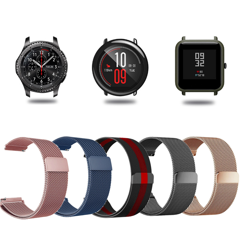 22mm 20mm Band For Huami Amazfit Bip Strap Pace Stratos 2 Bracelet Wrist Strap Metal Stainless Magnetic Strap Smart Watch Belt