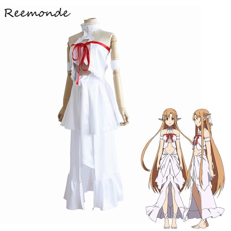 Anime Sword Art Online SAO Yuuki Asuna Cosplay Costumes Synthetic Wigs Titania Prison Dresses Women Girls Fancy Dress Halloween