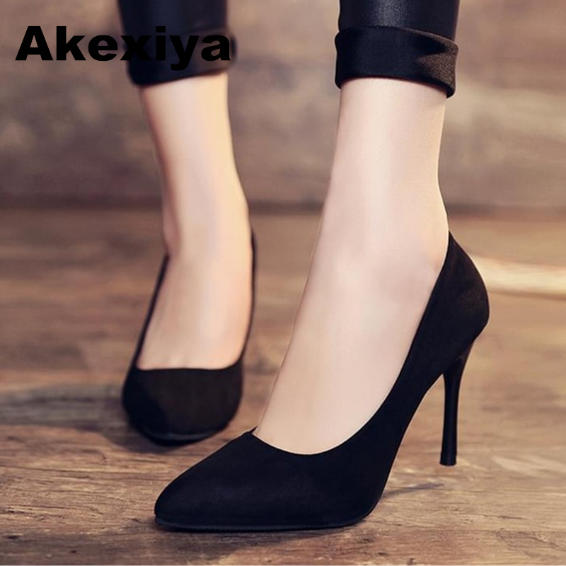 Akexiya Korean Version Spring And Autumn Sexy Women Shoes Fashion Shallow Mouth Black High Heels Fine With Pointed Woman Pumps 16cm fine with high heels female korean version of the sexy thin bow shoes round head shallow mouth shop shoes