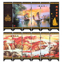 Office Table MINI Folding Screens 6 Joined Panels Decorative Painting Wood Byobu Opportunity Knocks Lucky Strike