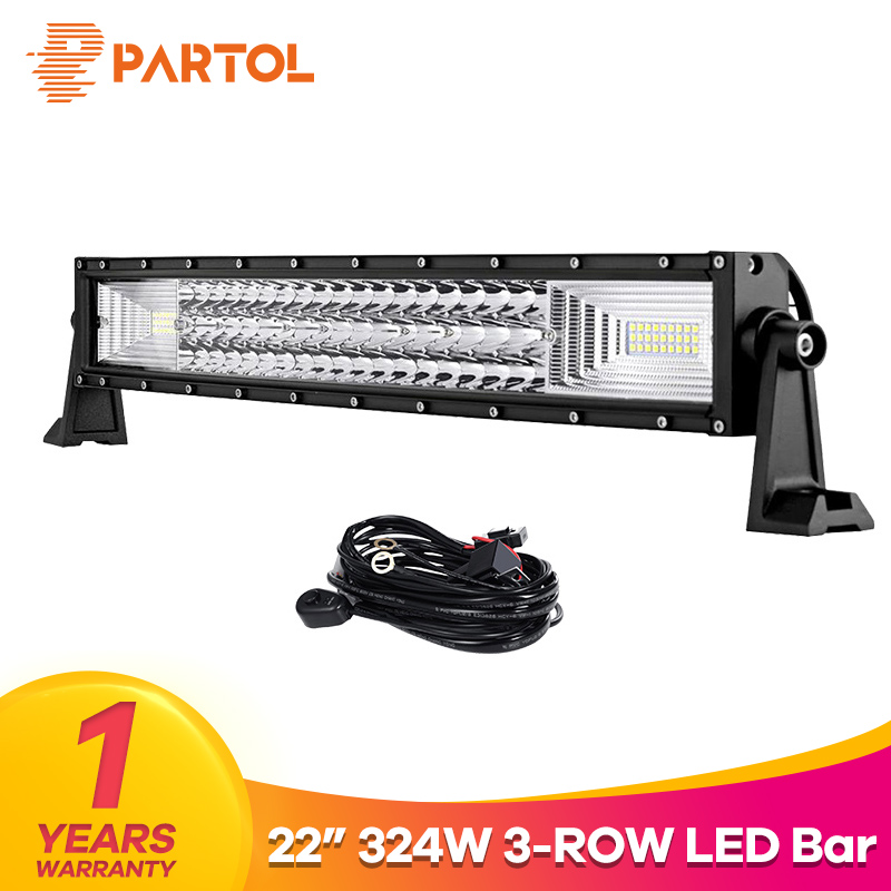 Partol 22 324W Tri-Row Curved LED Light Bar Offroad Work Light Spot Flood Combo Beam 4X4 4WD LED Bar 12V 24V for Jeep SUV Truck partol 240w 22 tri row led work light bar offroad led bar spot flood combo beam truck suv atv 4x4 4wd driving lamp 12v 24v