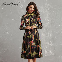 MoaaYina Fashion Designer Runway Dress Autumn Women Long sleeve Bowknot Animal Printed Slim Vintage Black Elegant Draped Dress
