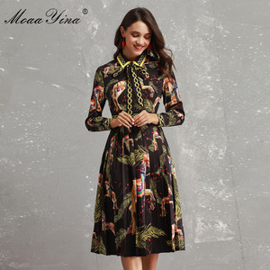 Image 1 - MoaaYina Fashion Designer Runway Dress Autumn Women Long sleeve Bowknot Animal Printed Slim Vintage Black Elegant Draped Dress