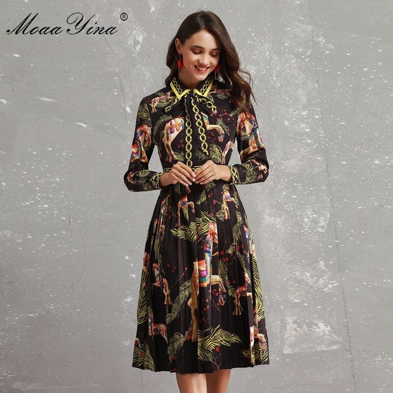 Kadın Giyim'ten Elbiseler'de MoaaYina Moda Tasarımcısı Pist Elbise Sonbahar Kadınlar Uzun kollu Ilmek Hayvan Baskılı Ince Vintage Siyah Zarif Dökümlü Elbise'da  Grup 1