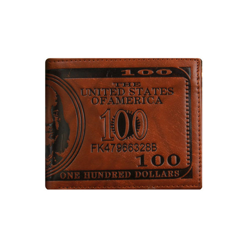 Men's Novel 100 Dollars Personalized Cheap Wallets, Three Layer Folded Short Wallet, Dollar Price Coin Card Multi-Function Purse