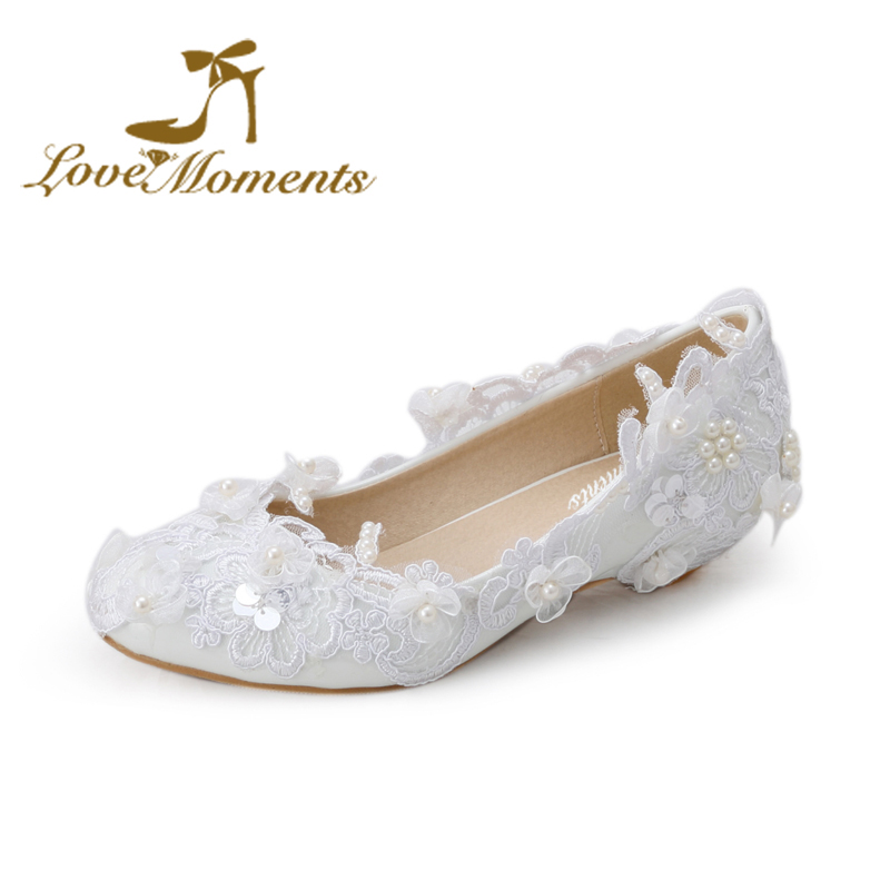 цена на Love Moments  Sweet low heel wedding shoes Lace flowers  bridal wedges  pumps white pearl  female shoes big size 34-44