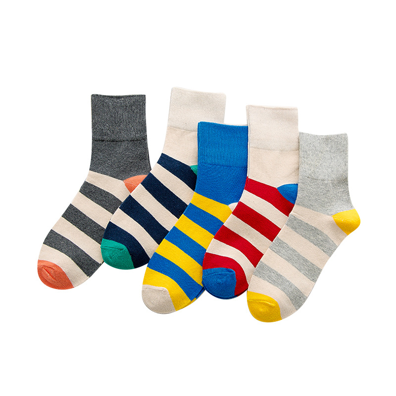 2018 5 pairs Women Cotton Socks Cute Wide stripe Socks New Print Funny Fashion Casual Harajuku socks Wholesale in Socks from Underwear Sleepwears