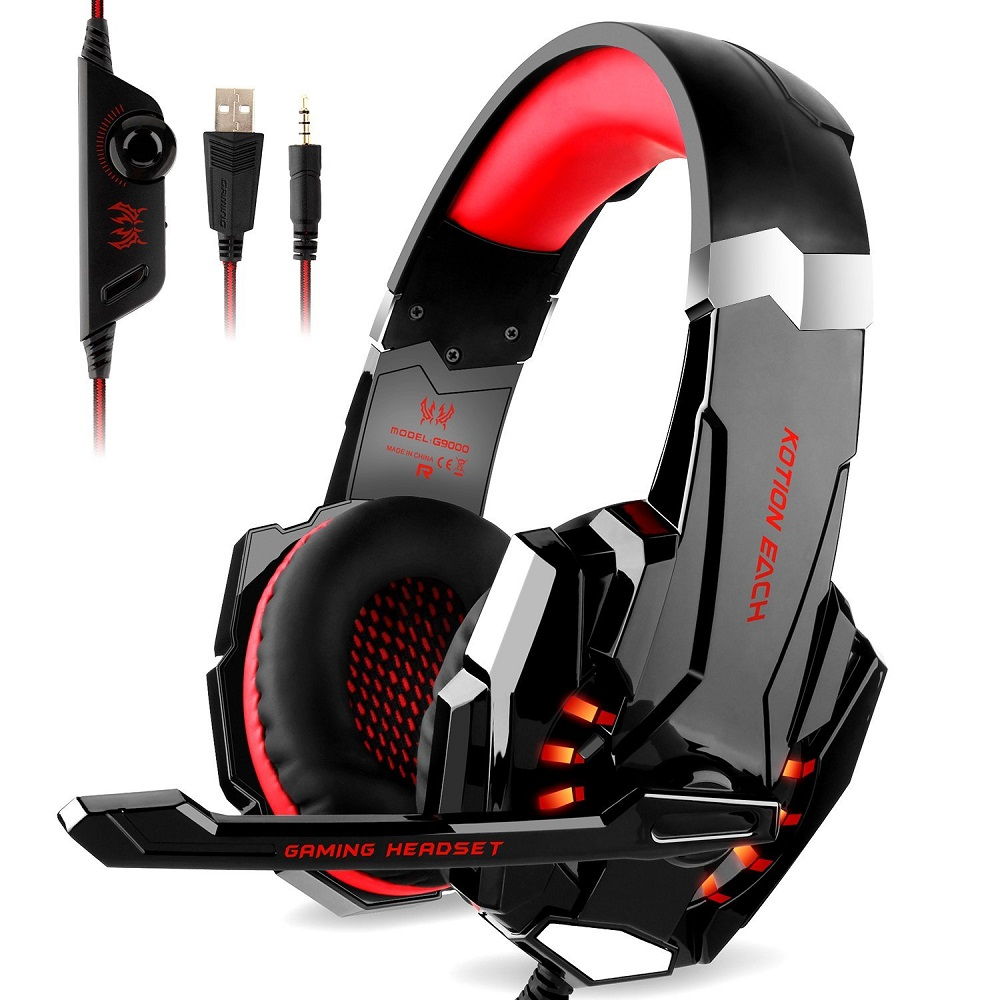 EACH G9000 3 5mm USB Gaming Headset Stereo Bass Luminous With Mic LED Light Gaming Headphone