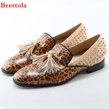 8205be3b24 Beertola Luxury Brand Leopard Printing Men Shoes Graffiti Round Toe Stripe  Flats Shoes Fringe Shoes European Size 38-47 for Man